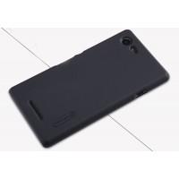 Пластиковый матовый нескользящий премиум чехол для Sony Xperia E3 Черный