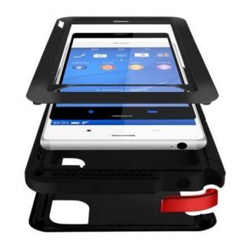 Ультрапротекторный пылеводоударостойкий чехол металл/стекло для Sony Xperia Z3