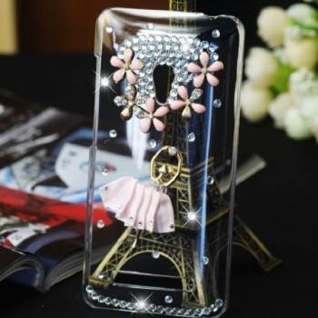 Пластиковый транспарентный чехол с инкрустацией стразами ручной работы дизайн Балет для ASUS Zenfone 5