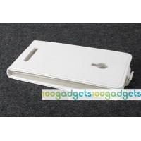 Чехол вертикальная книжка на силиконовой основе с магнитной застежкой для ASUS Zenfone 5 Белый