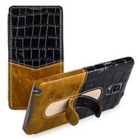 Кожаный чехол горизонтальная книжка (нат. кожа двух видов) с подставкой для Samsung Galaxy Note 4