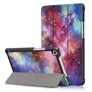 Сегментарный чехол книжка подставка на непрозрачной поликарбонатной основе с полноповерхностным принтом для Huawei MediaPad M5 lite 8