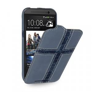 Кожаный чехол книжка (нат. кожа) с фигурными кожаными вставками ручной работы для HTC One (M8)