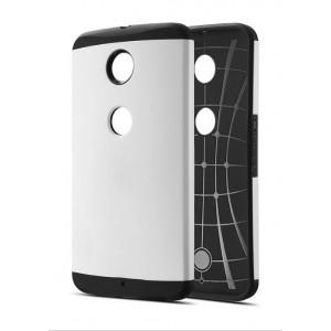 Силиконовый премиум чехол с поликарбонатной крышкой для Google Nexus 6 Белый