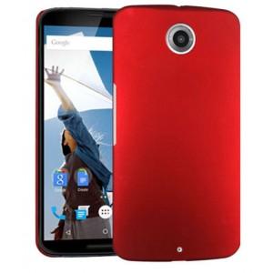 Пластиковый матовый металлик чехол для Google Nexus 6 Красный
