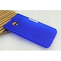 Пластиковый матовый металлик чехол для Google Nexus 6 Синий
