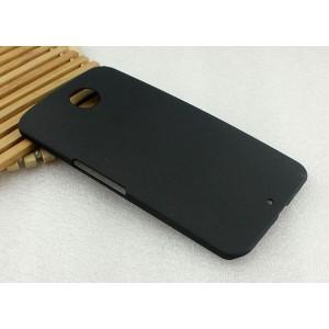 Пластиковый матовый металлик чехол для Google Nexus 6 Черный