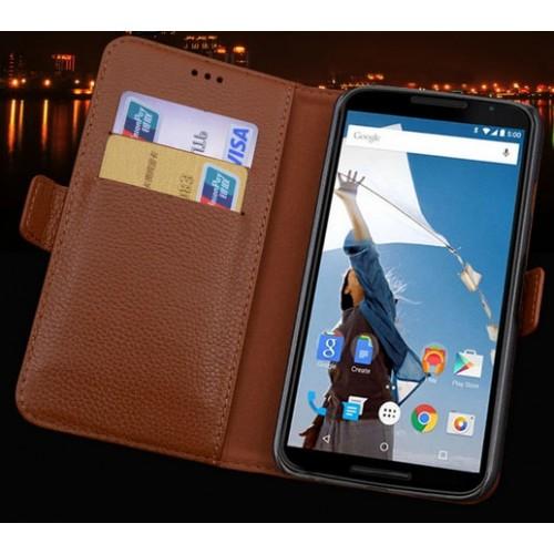 Кожаный чехол портмоне (нат. кожа) для Google Nexus 6