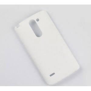 Пластиковый матовый чехол металлик для LG G3 Stylus Белый