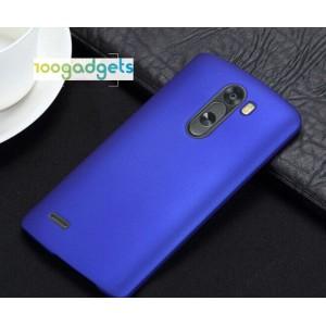 Пластиковый матовый чехол металлик для LG G3 Stylus Синий