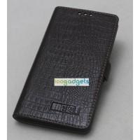 Кожаный чехол портмоне (нат. кожа под крокодила) для Meizu MX4 Pro Коричневый