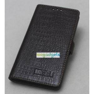 Кожаный чехол портмоне (нат. кожа под крокодила) для Meizu MX4 Pro