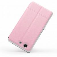 Чехол смарт флип на пластиковой основе с окном вызова для Sony Xperia Z3 Compact Розовый