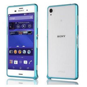 Металлический скругленный одноцветный бампер на пряжке для Sony Xperia Z3 Dual SIM Голубой