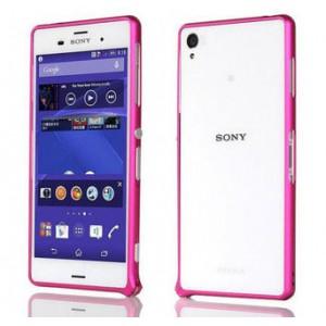 Металлический скругленный одноцветный бампер на пряжке для Sony Xperia Z3 Dual SIM Пурпурный