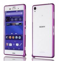 Металлический скругленный одноцветный бампер на пряжке для Sony Xperia Z3 Dual SIM Фиолетовый