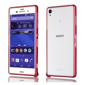 Металлический скругленный одноцветный бампер на пряжке для Sony Xperia Z3 Dual SIM Красный