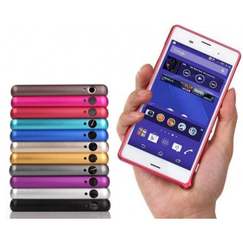 Металлический скругленный одноцветный бампер на пряжке для Sony Xperia Z3 Dual SIM