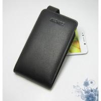 Чехол вертикальная книжка (нат. кожа) на пластиковой основе для Prestigio Multiphone Grace 7557 Черный