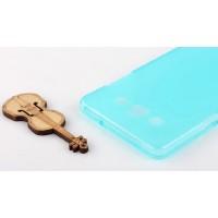 Силиконовый матовый полупрозрачный чехол для Samsung Galaxy A5 Голубой