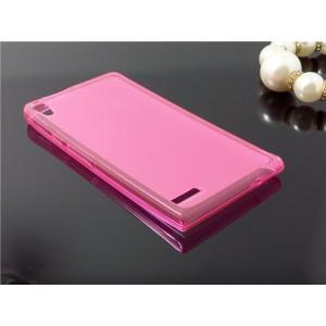 Силиконовый матовый полупрозрачный чехол для Huawei Ascend P6 Розовый