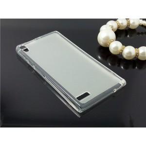 Силиконовый матовый полупрозрачный чехол для Huawei Ascend P6 Белый