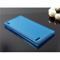 Силиконовый полупрозрачный чехол для Huawei Ascend P6 Голубой