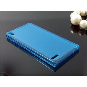 Силиконовый матовый полупрозрачный чехол для Huawei Ascend P6 Голубой