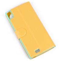 Оригинальный чехол флип подставка текстурный на пластиковой основе с магнитной защелкой для Prestigio Multiphone Grace 7557 Желтый