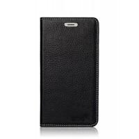 Кожаный чехол портмоне подставка (нат. кожа) на присосках для Prestigio Multiphone Grace 7557 Черный