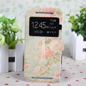 Дизайнерский принтованный чехол флип с окном вызова и подставкой для HTC One E8