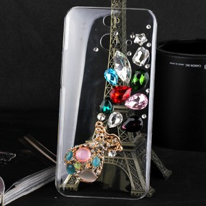 Пластиковый чехол с металлическим напылением и стразами для HTC One E8