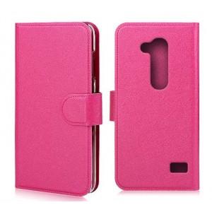 Чехол флип подставка с отделениями и прозрачным основанием защелкой для LG L Fino Пурпурный