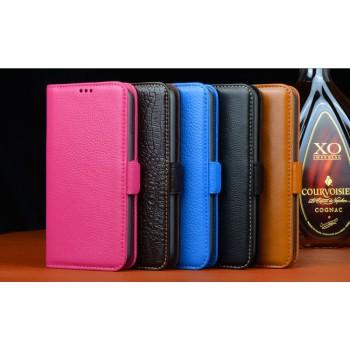 Кожаный чехол портмоне (нат. кожа) на пластиковой основе с магнитной застежкой для Samsung Galaxy S5 Mini