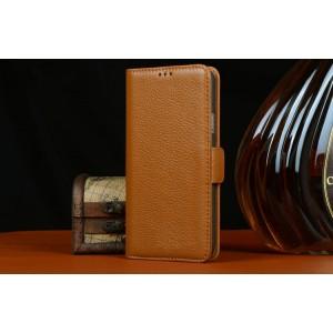 Кожаный чехол портмоне (нат. кожа) на пластиковой основе с магнитной застежкой для Samsung Galaxy S5 Mini Коричневый