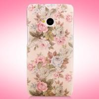 Пластиковый матовый дизайнерский чехол с принтом серия цветы для HTC One (М7) Dual SIM