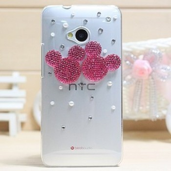 Пластиковый чехол с металлическим напылением и стразами для HTC One (М7) Dual SIM