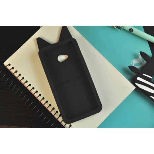 Силиконовый дизайнерский фигурный чехол для HTC One (М7) Dual SIM