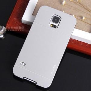 Двухкомпонентный чехол с поликарбонатным софт-тач основанием и металлической накладкой для Samsung Galaxy S5 Белый