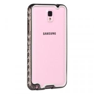Металлический бампер со стразами для Samsung Galaxy Note 3 Черный