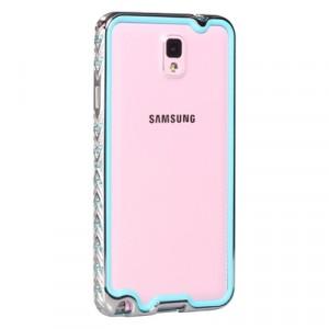 Металлический бампер со стразами для Samsung Galaxy Note 3 Голубой