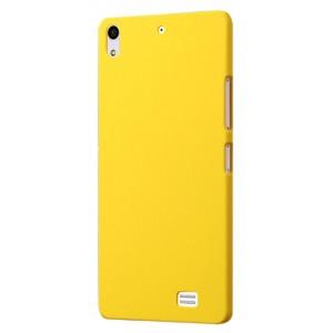Пластиковый матовый непрозрачный чехол для Fly IQ4516 Tornado Slim Octa Желтый