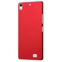 Пластиковый матовый непрозрачный чехол для Fly IQ4516 Tornado Slim Octa Красный