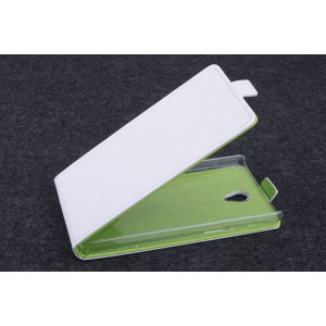 Чехол вертикальная книжка на пластиковой основе с магнитной застежкой для Lenovo S860 Белый