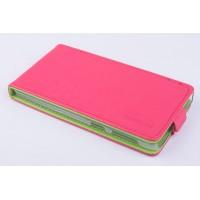 Чехол вертикальная книжка на пластиковой основе с магнитной застежкой для Lenovo S860 Розовый