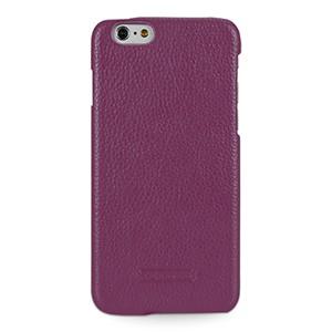 Кожаный чехол накладка (нат. кожа) для Iphone 6 Фиолетовый