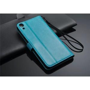 Чехол портмоне подставка для HTC Desire 820 Голубой