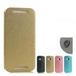 Чехол флип подставка на присоске и пластиковой основе с глянцевой текстурой серия Glossy Shield для HTC One 2 mini