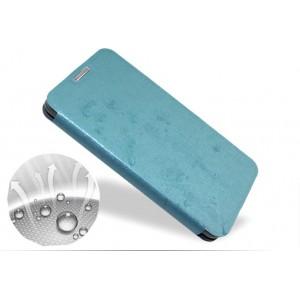 Чехол флип подставка на присоске и пластиковой основе с глянцевой текстурой серия Glossy Shield для HTC One 2 mini Голубой