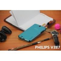 Силиконовый матовый полупрозрачный чехол для Philips V387 Голубой
